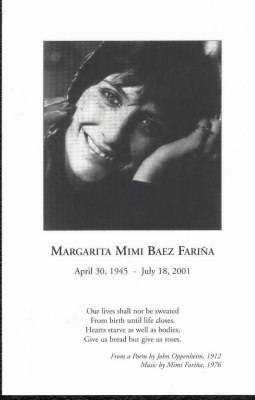 Mimi memorial pamphlet cover